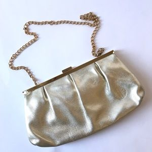 Lilly Pulitzer Gold clutch with chain 10.5 x 5.5